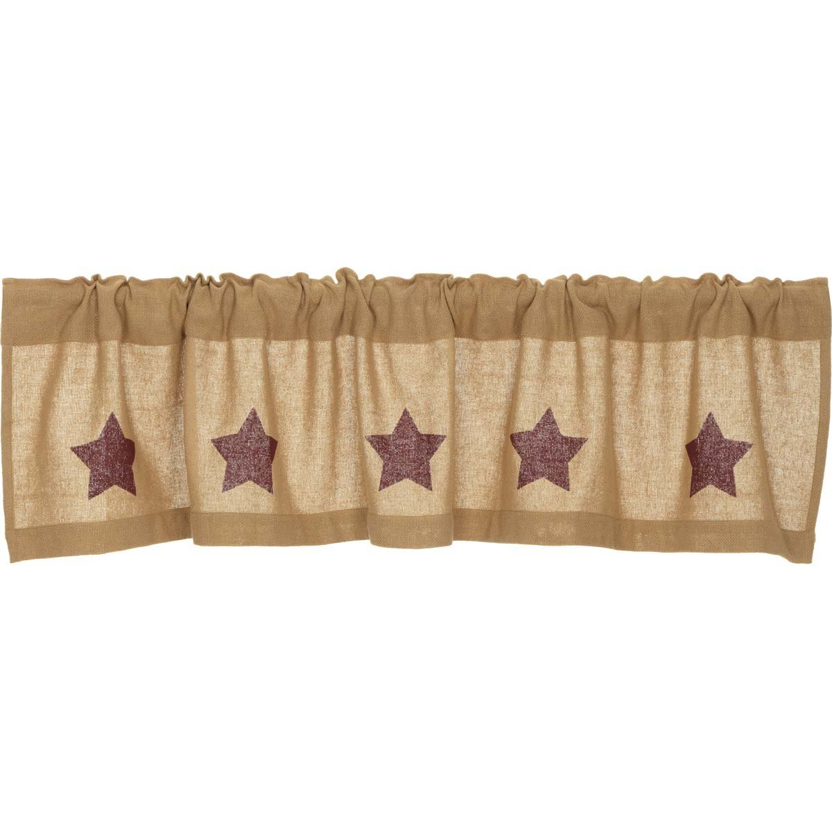 Burlap Natural with Burgundy Stars Valance.