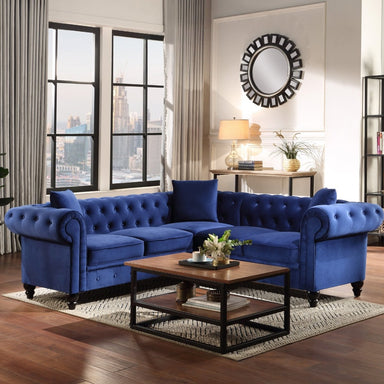 Chesterfield Tufted Velvet Sectional Sofa.