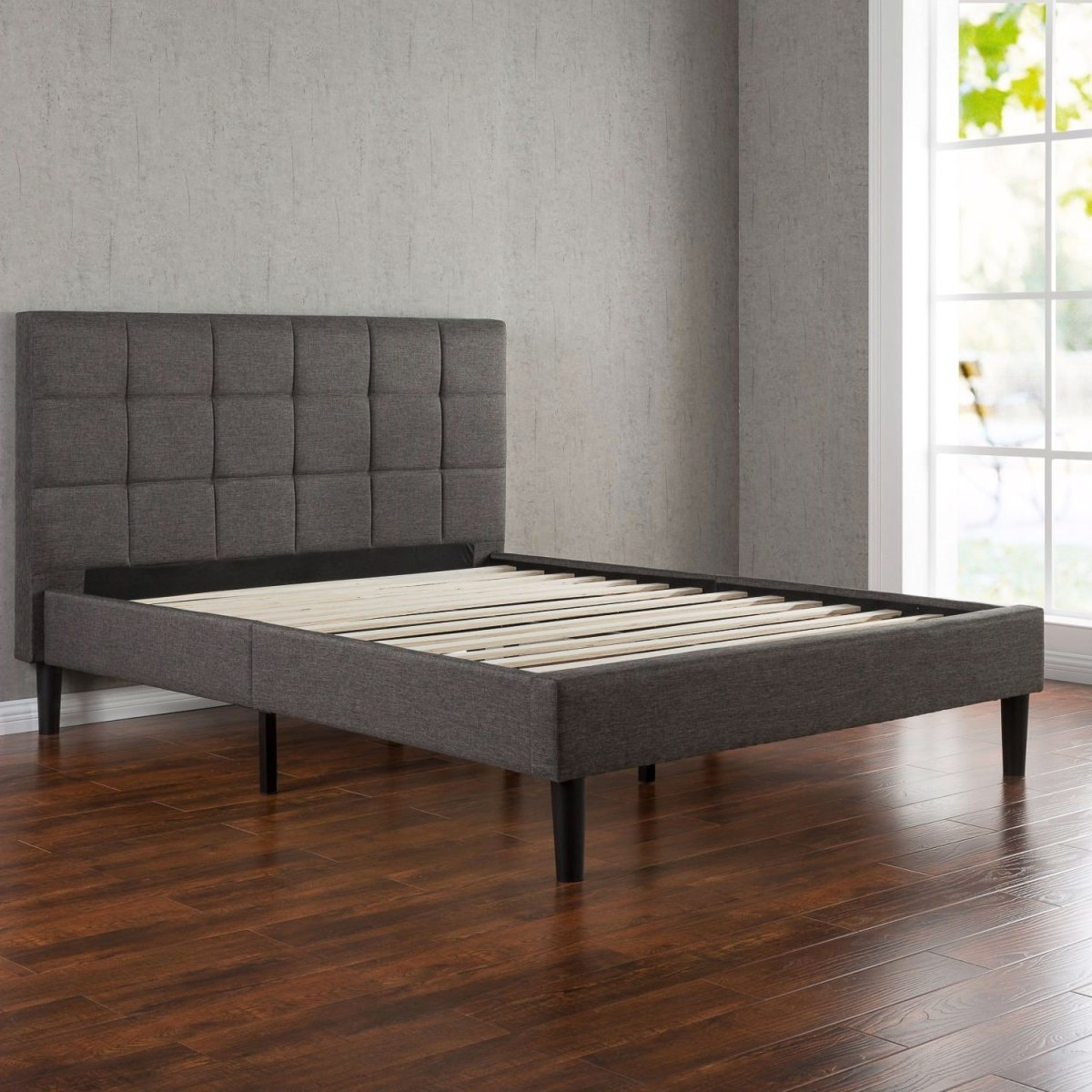 Full size Modern Platform Bed with Dark Grey Square Stitched Upholstered Headboard.