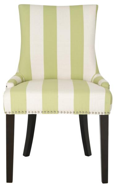 Lester 19''H Awning Stripes Dining Chair - Silver Nail Heads (Set of 2).
