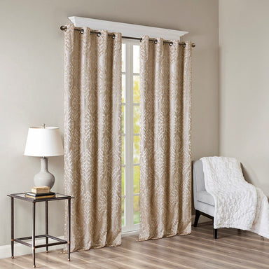 Mirage 100% Polyester Knitted Jacquard Total Blackout Window Panel.
