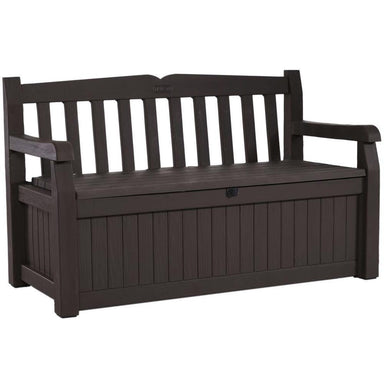Outdoor Garden Bench with Arm Rest and Storage Box in Dark Brown.