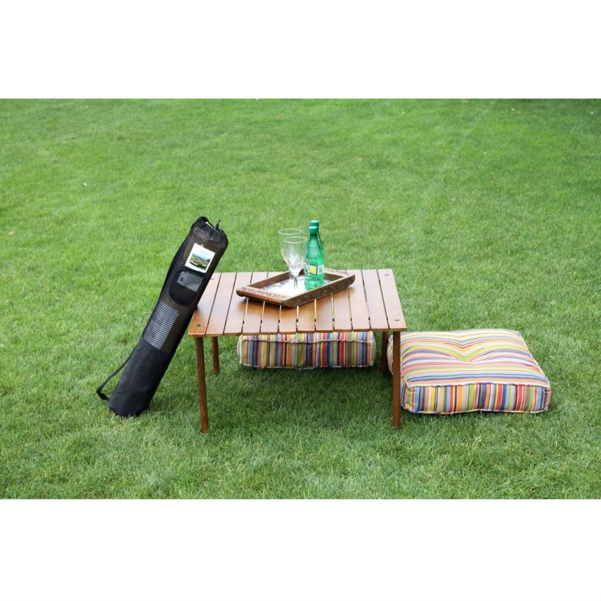 Outdoor Portable Folding Table with Carry Bag with Solid Wood Top.