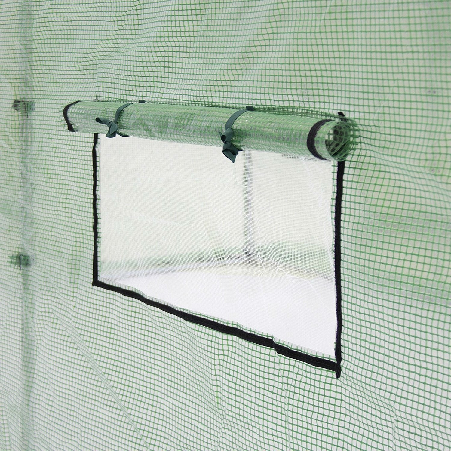 Outdoor 7 x 15 Ft Hoop House Greenhouse with Steel Frame and Green PE Cover.