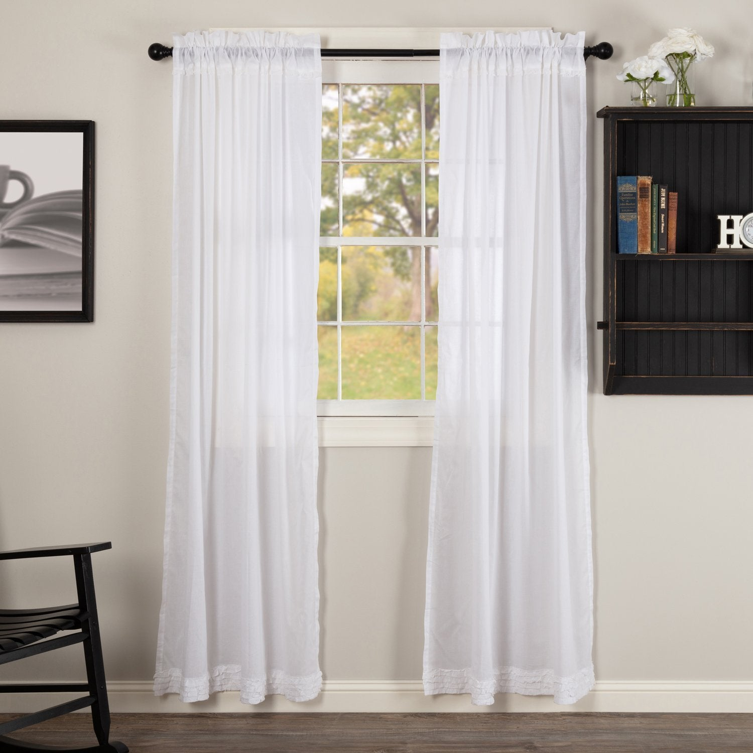 White Ruffled Sheer Panel Curtain Set of 2