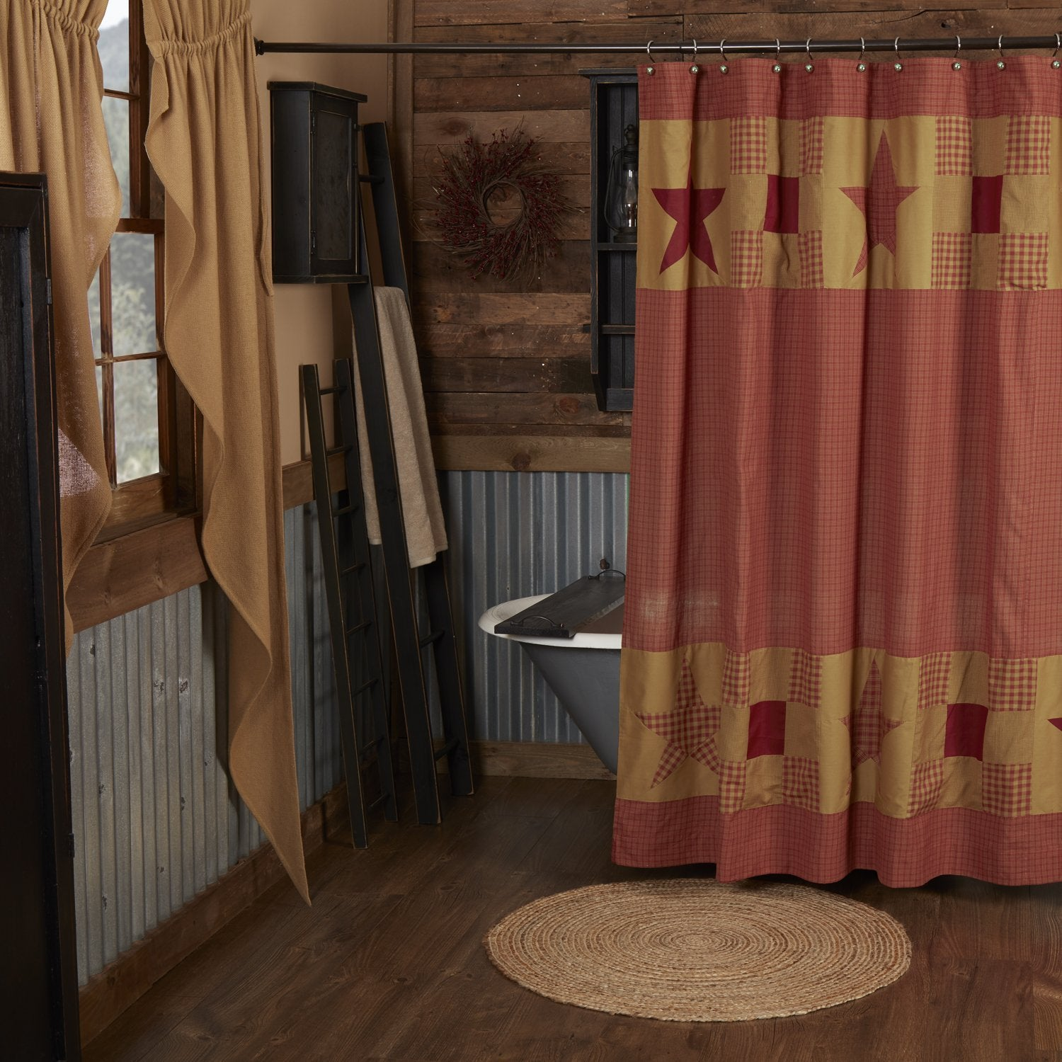Ninepatch Star Shower Curtain w/ Patchwork Borders.