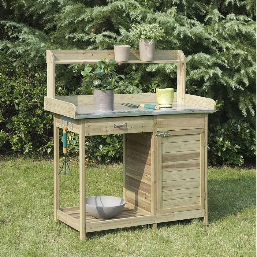Natural Fir Wood Potting Bench with Galvanized Steel Table Top.