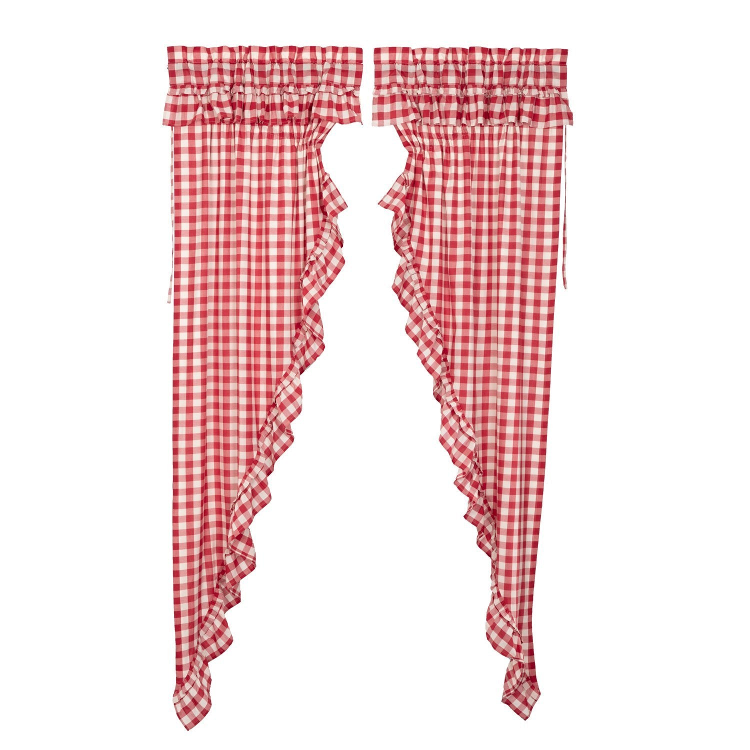 Annie Buffalo Red Check Ruffled Prairie Long Panel Set of 2.