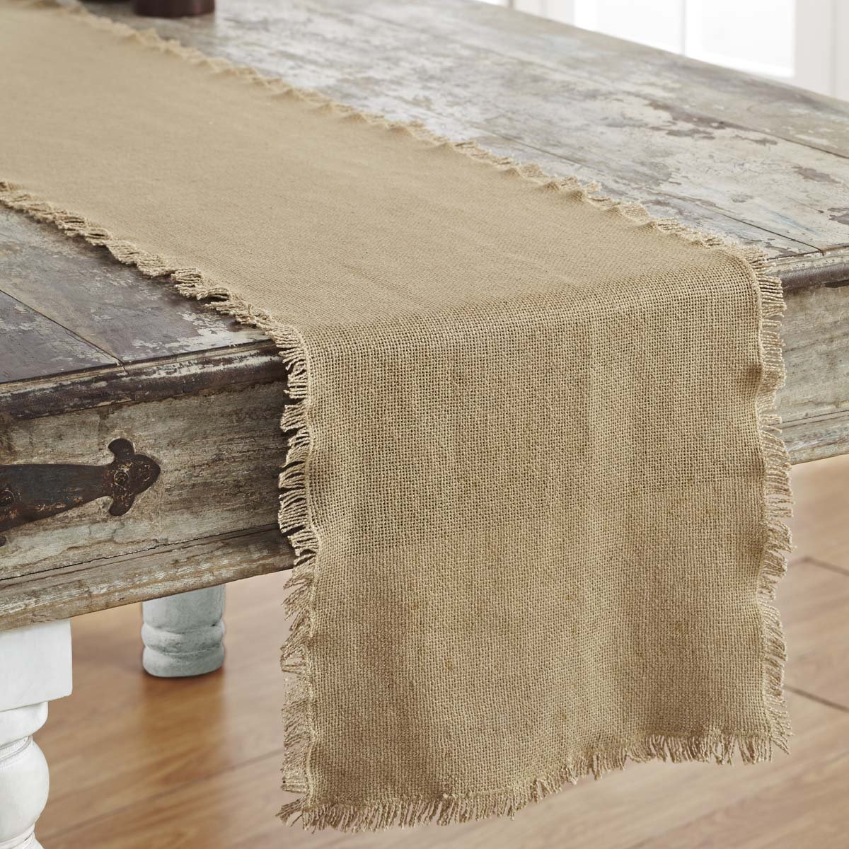 Burlap Natural Fringed Runner.