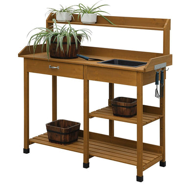 Outdoor Garden Wood Potting Bench Work Table with Sink in Light Oak Finish.