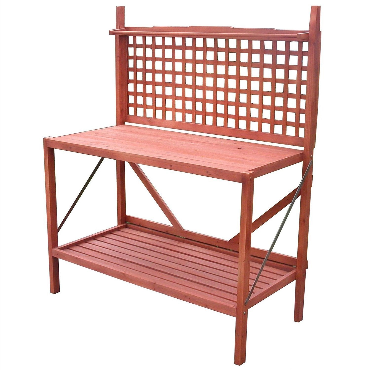 Outdoor Folding Wooden Potting Bench Garden Trellis with Storage Space.