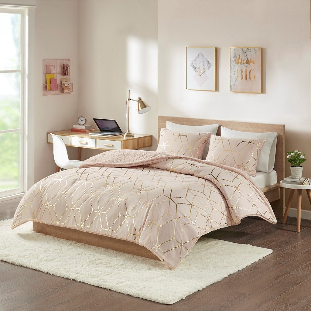 Ainsley Metallic Print Reversible Comforter Set