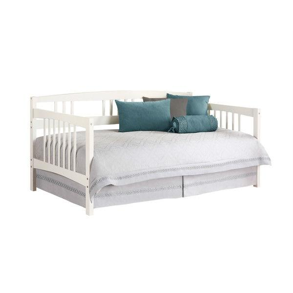 Twin size Traditional Pine Wood Day Bed Frame in White Finish.