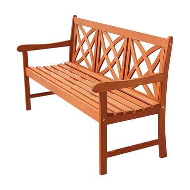 Sustainable Eucalyptus Wood 5-Ft Outdoor Garden Bench in Natural Finish.