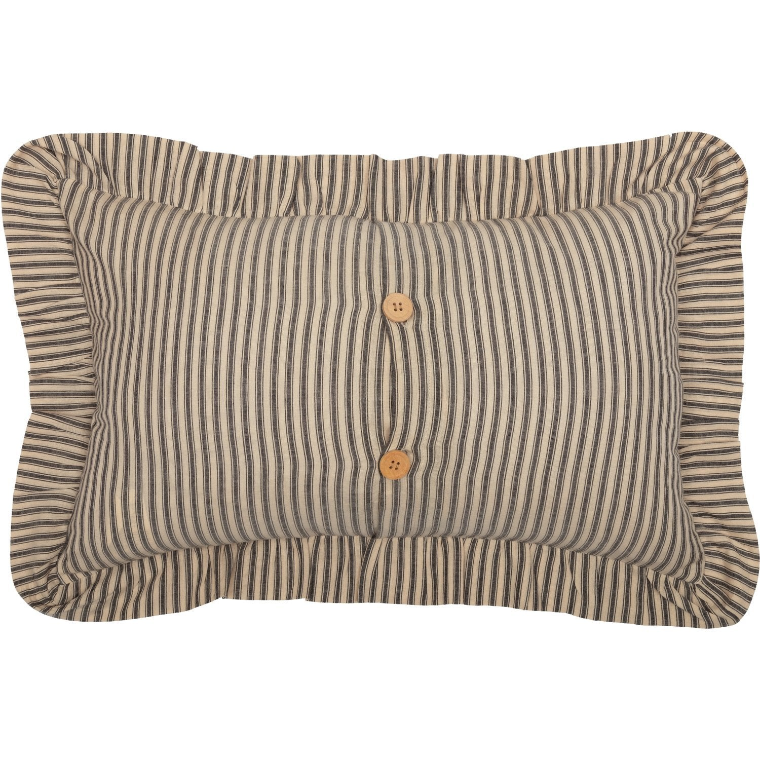 Sawyer Mill Charcoal Ticking Stripe Fabric Pillow.