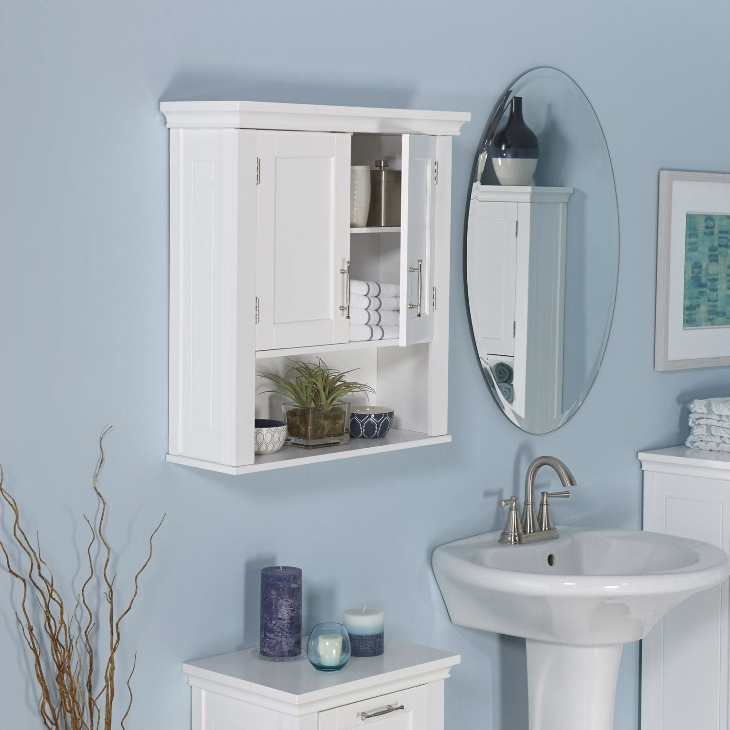 White Bathroom Wall Cabinet Cupboard with Open Shelf
