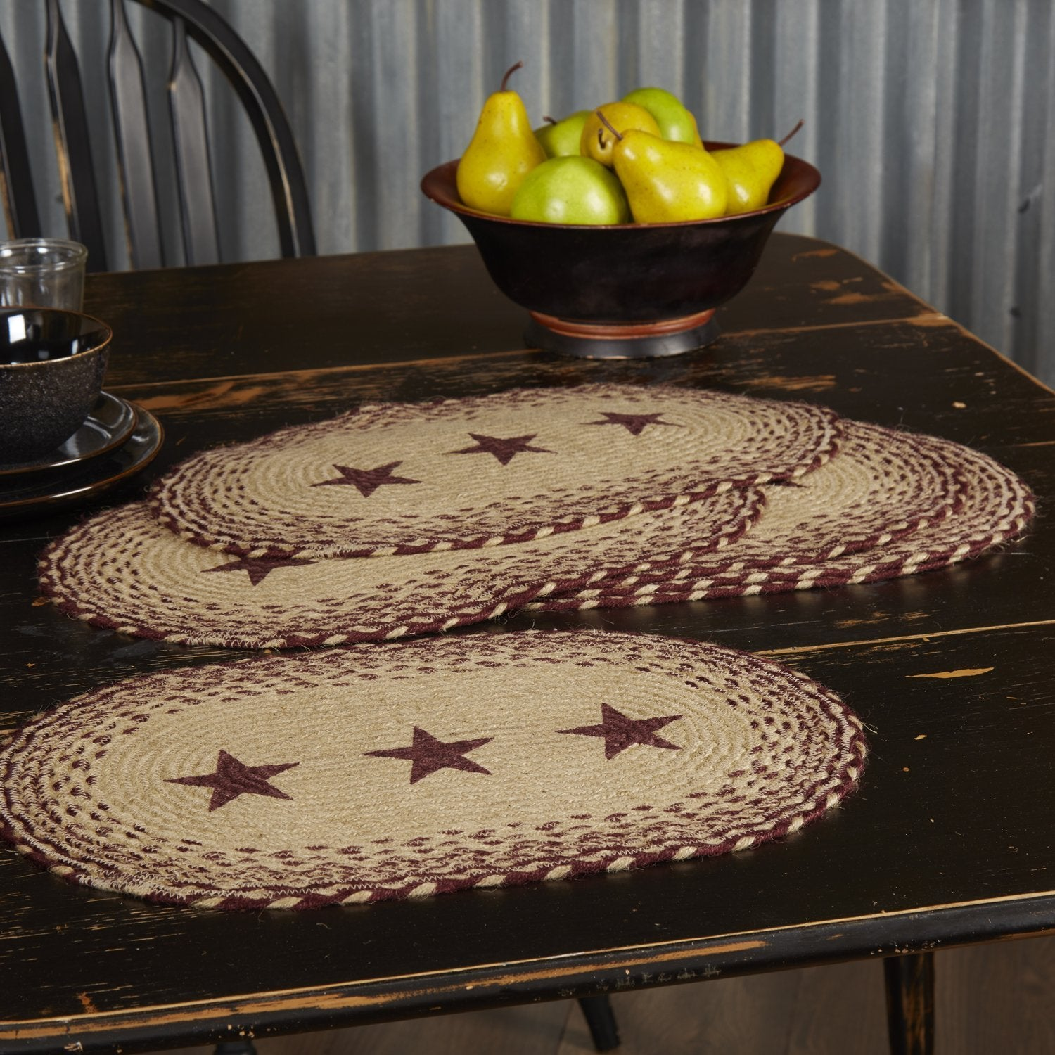 Burgundy Tan Jute Placemat Stencil Stars Set of 6.
