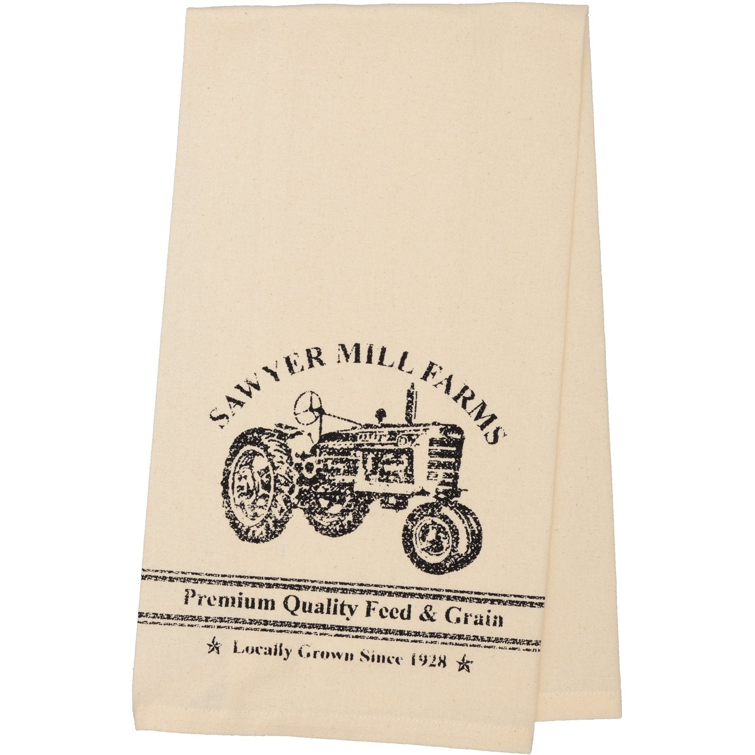 Sawyer Mill Charcoal Tractor Muslin Unbleached Natural Tea Towel.
