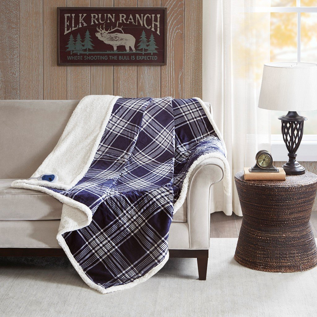 Leeds Oversized Plaid Print Faux Mink to Berber Heated Throw