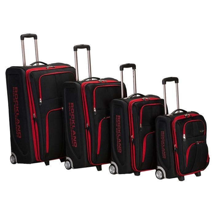 Rockland 4PC EVA LUGGAGE SET, BLACK with Red Trim.