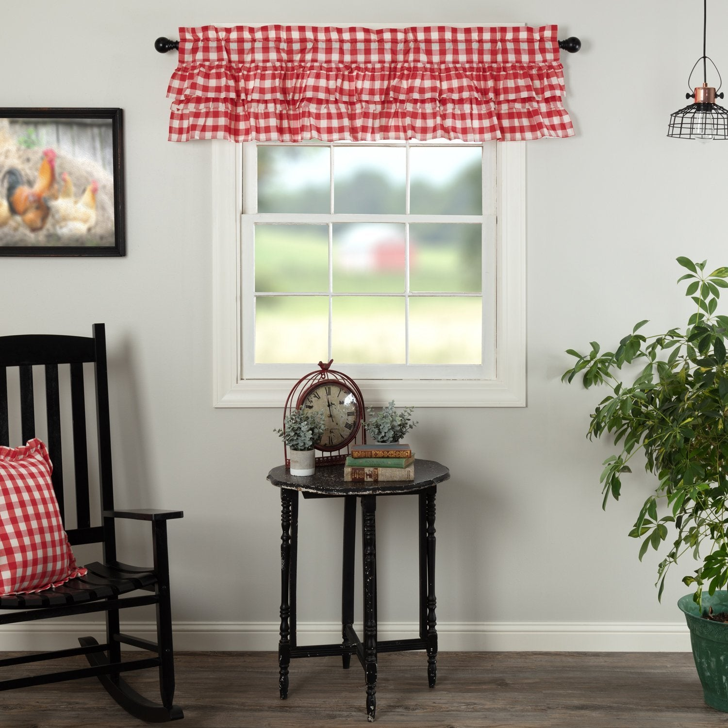 Annie Buffalo Red Check Ruffled Valance