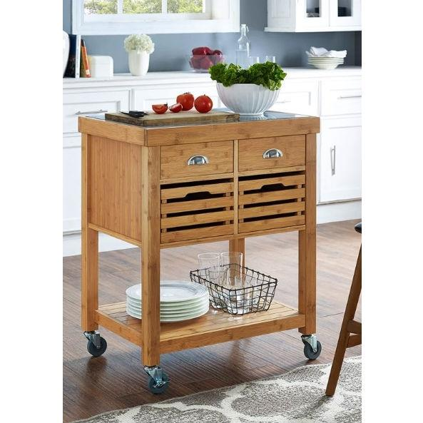 Stainless Steel Top Bamboo Wood Kitchen Cart with Casters.
