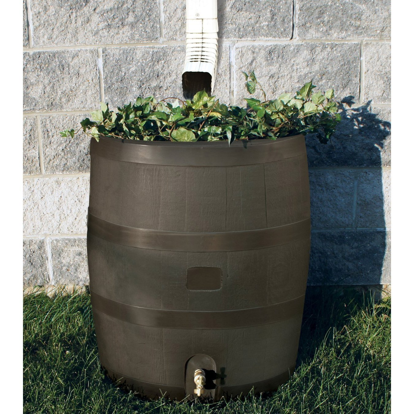Round Rain Barrel with Built in Planter - 35 Gallon Capacity.