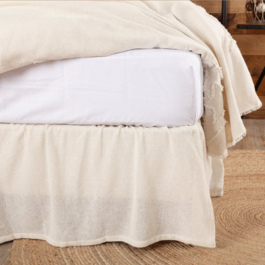 Burlap Antique White Ruffled Bed Skirt