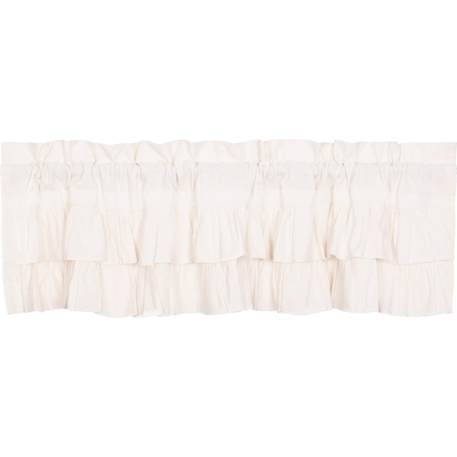 Simple Life Flax Antique White Ruffled Valance.