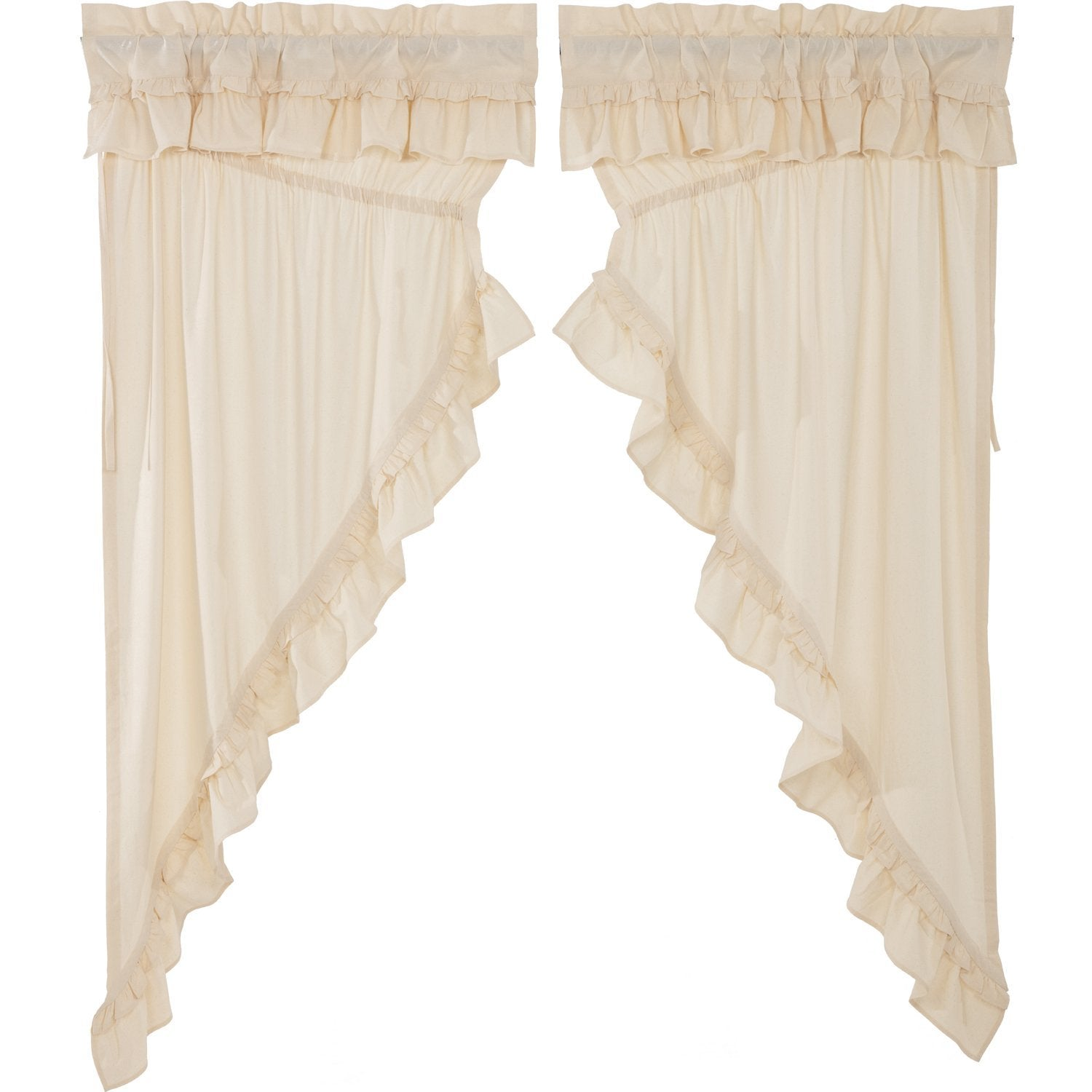 Muslin Ruffled Unbleached Natural Prairie Panel Set of 2.