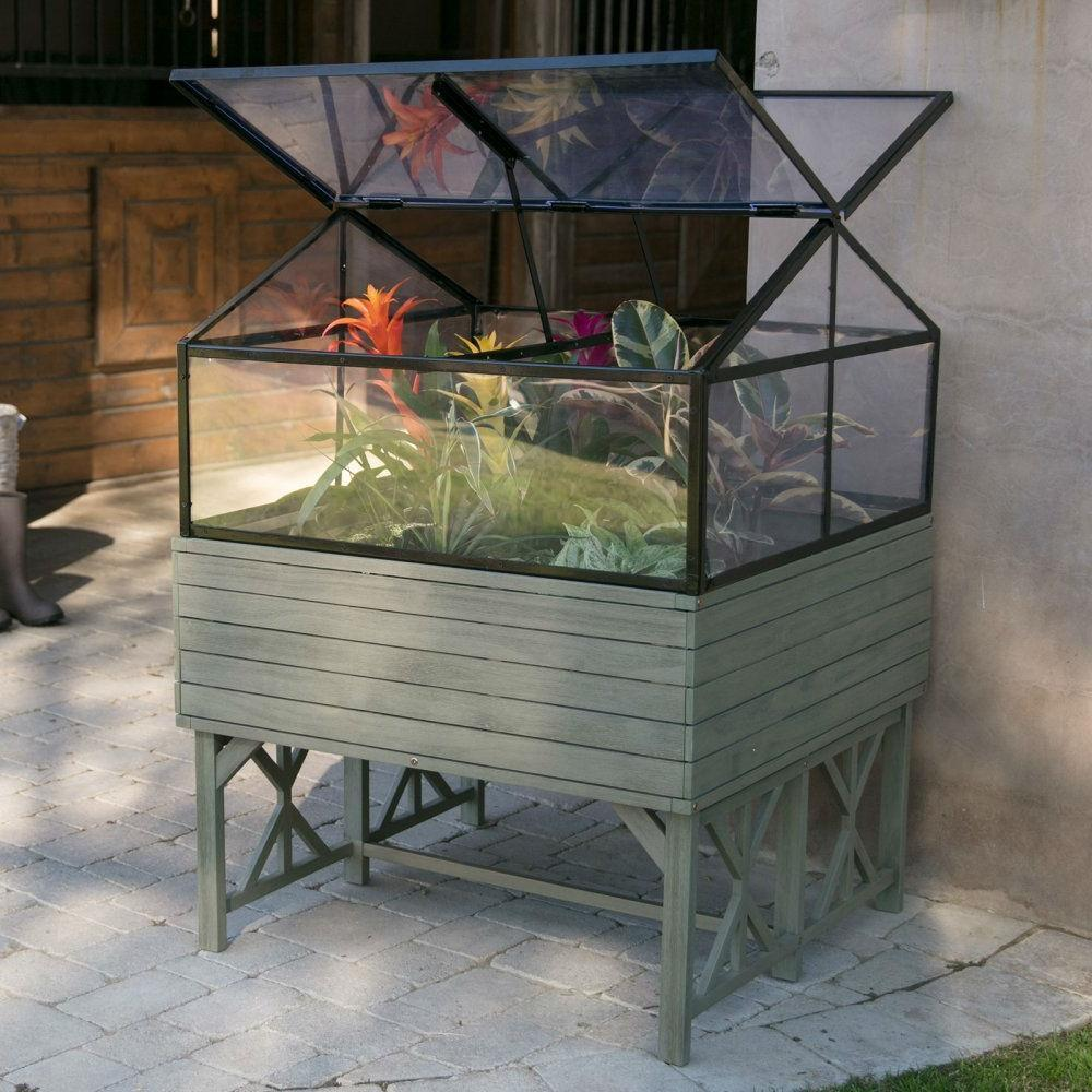 Elevated Raised Bed Garden Cold-frame Greenhouse Kit in Driftwood Finish.