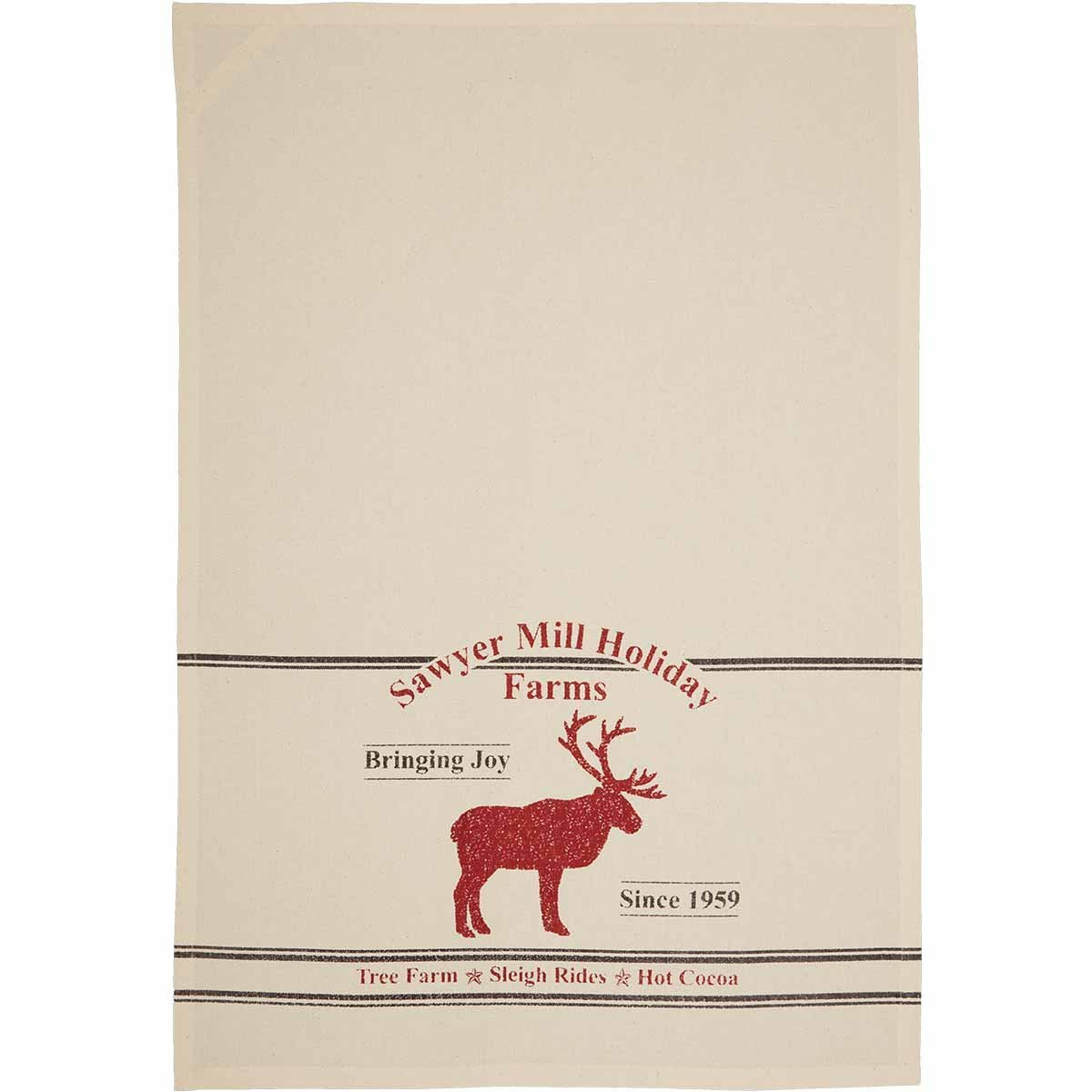 Sawyer Mill Holiday Reindeer And Recipes Unbleached Natural Muslin Tea Towel Set of 3.