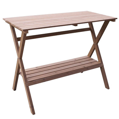 Indoor Outdoor Wood Potting Bench Garden Table with Lower Shelf.