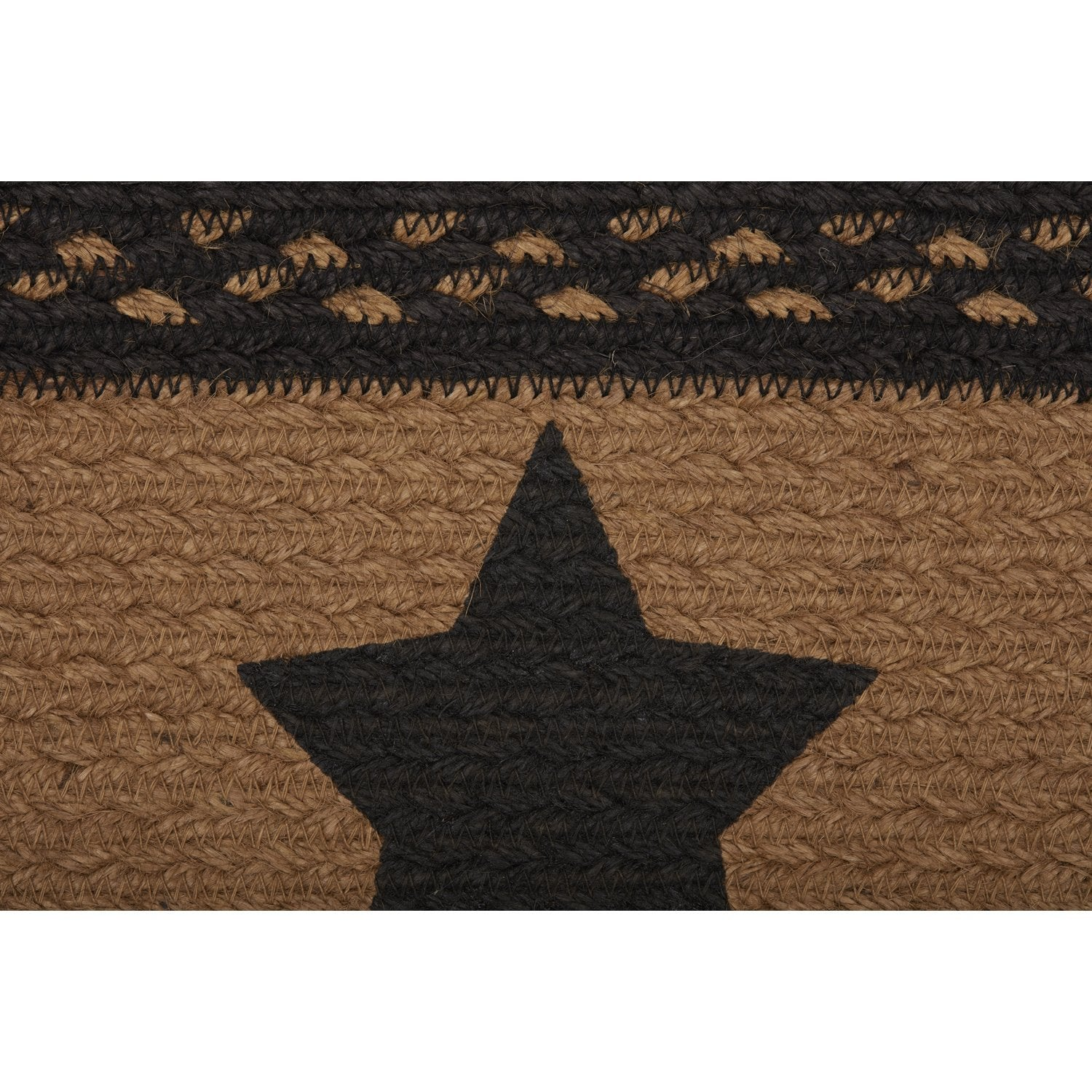 Farmhouse Jute Stair Tread Stencil Stars Oval Latex.