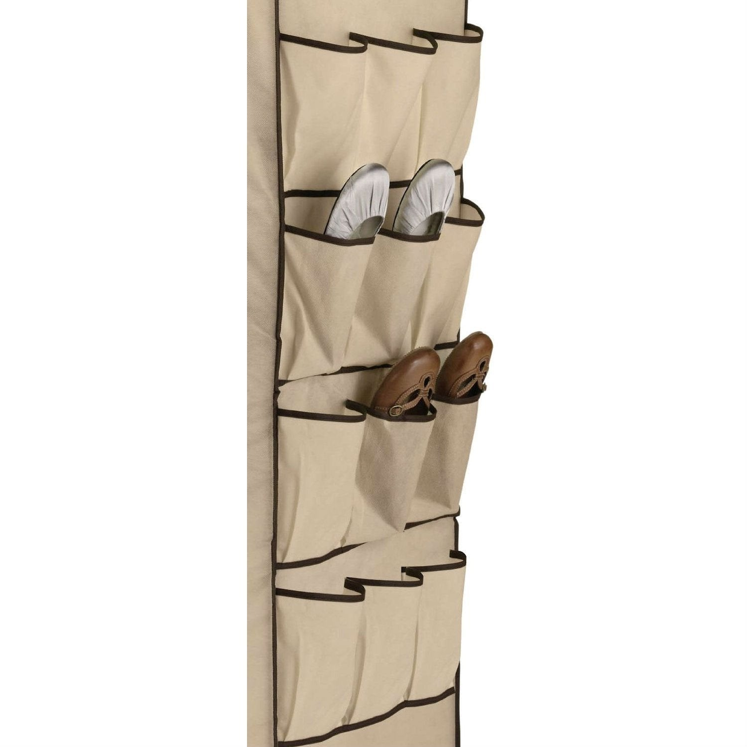 Tan 27-inch Portable Storage Closet Wardrobe with Shoe Organizer.