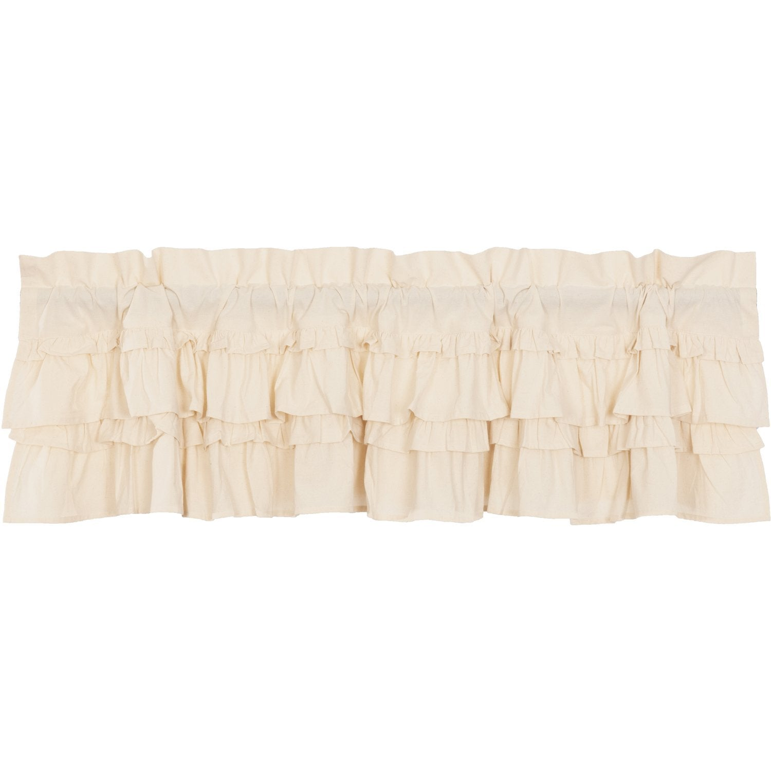 Muslin Ruffled Unbleached Natural Valance.