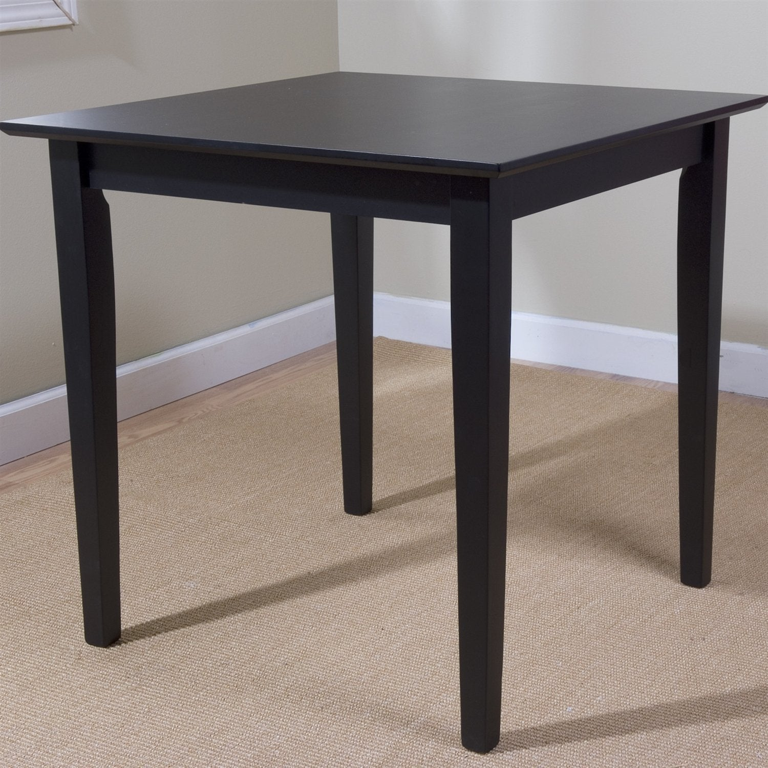 Black Square Wood Dining Table Contemporary Style w/ Shaker Legs.