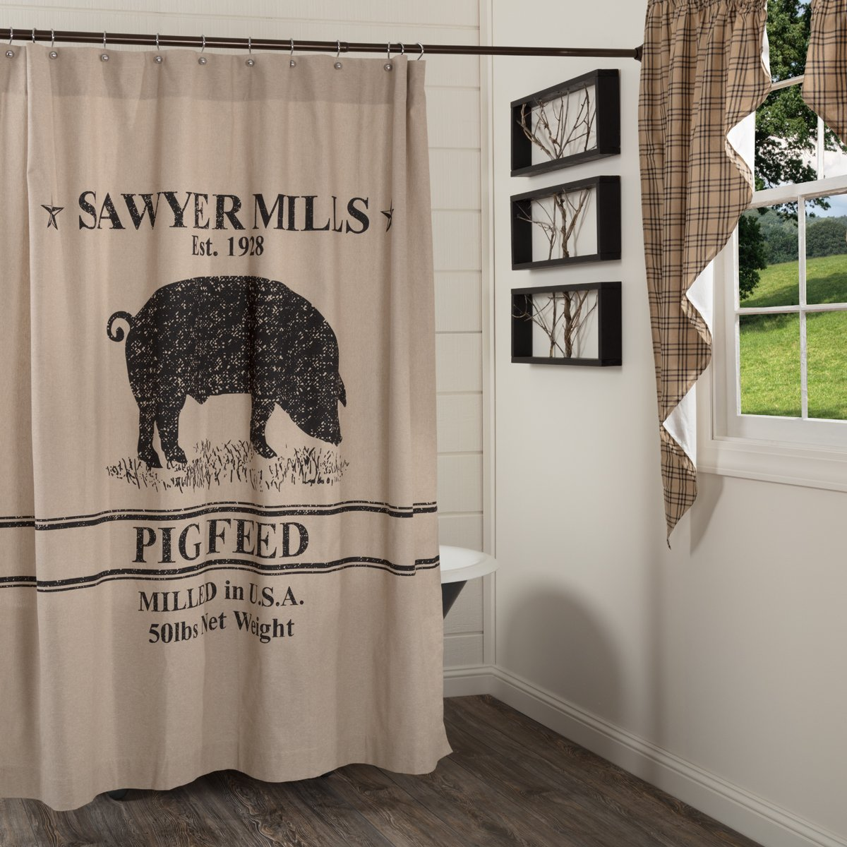 Sawyer Mill Charcoal Pig Shower Curtain.