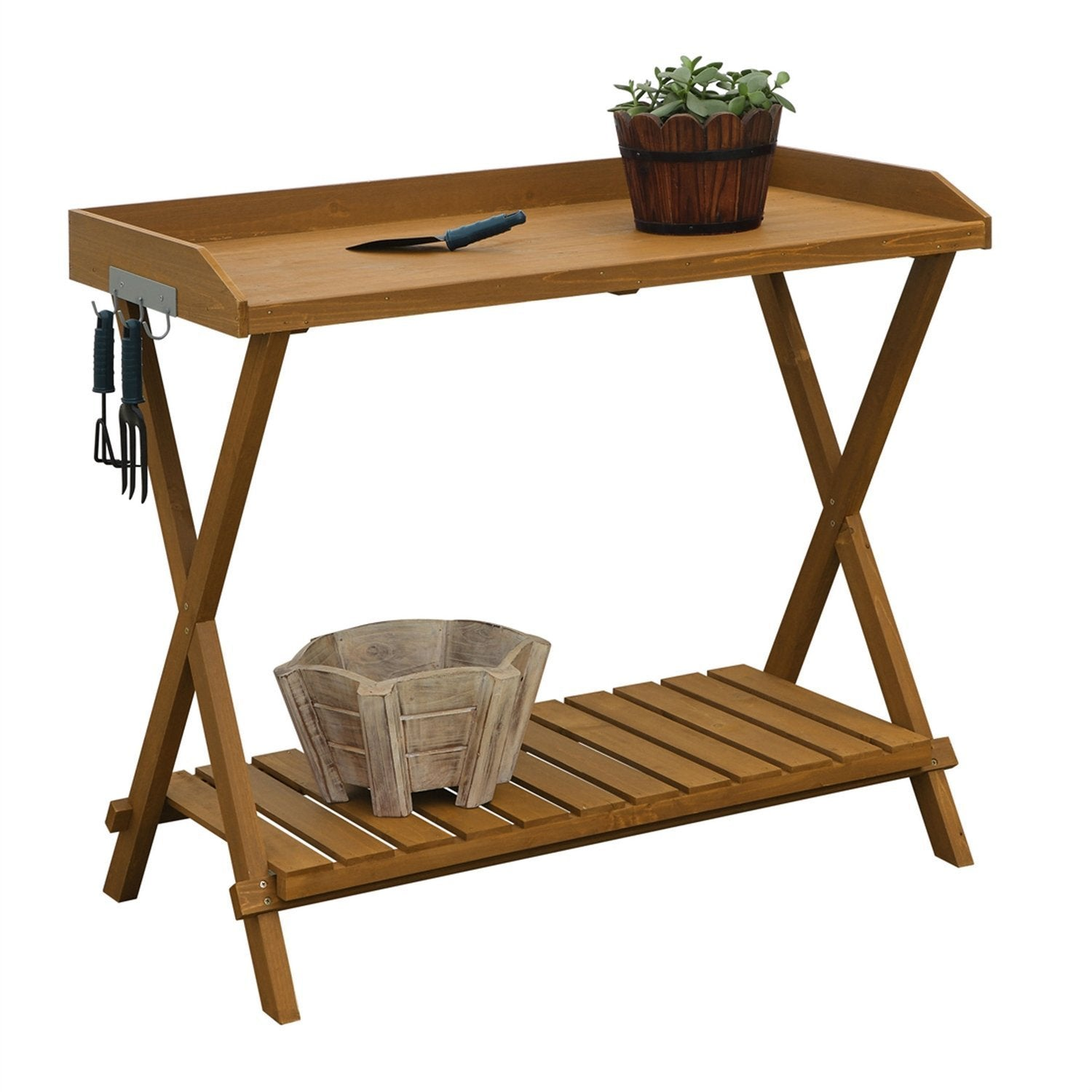 Outdoor Folding Garden Table Potting Bench with Slatted Bottom.
