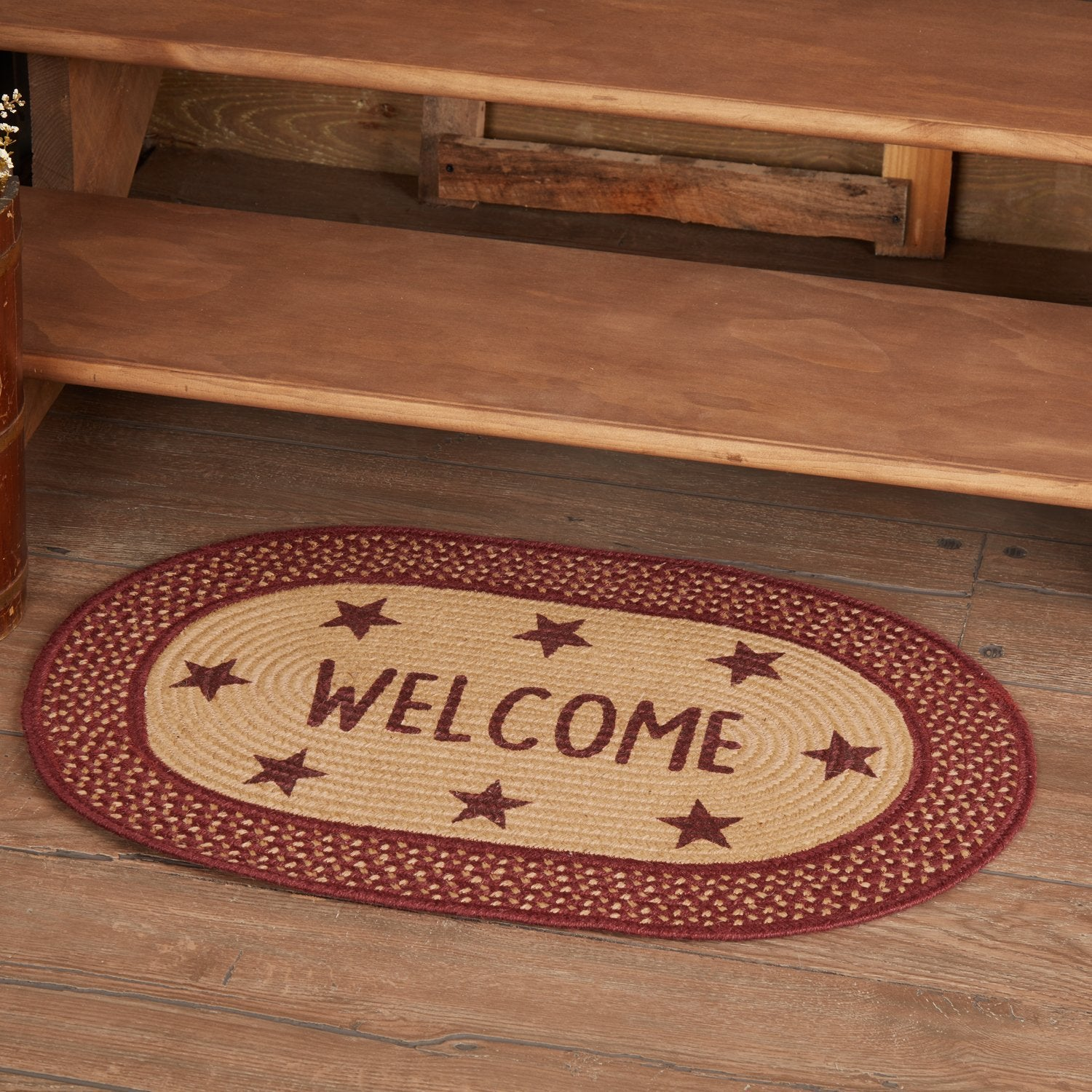 Burgundy Red Primitive Jute Rug Oval Stencil Stars Welcome