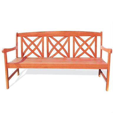 Outdoor Weather Resistant Eucalyptus Wood 5-ft Garden Bench.