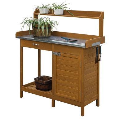 Outdoor Home Garden Potting Bench with Metal Table Top and Storage Cabinet.