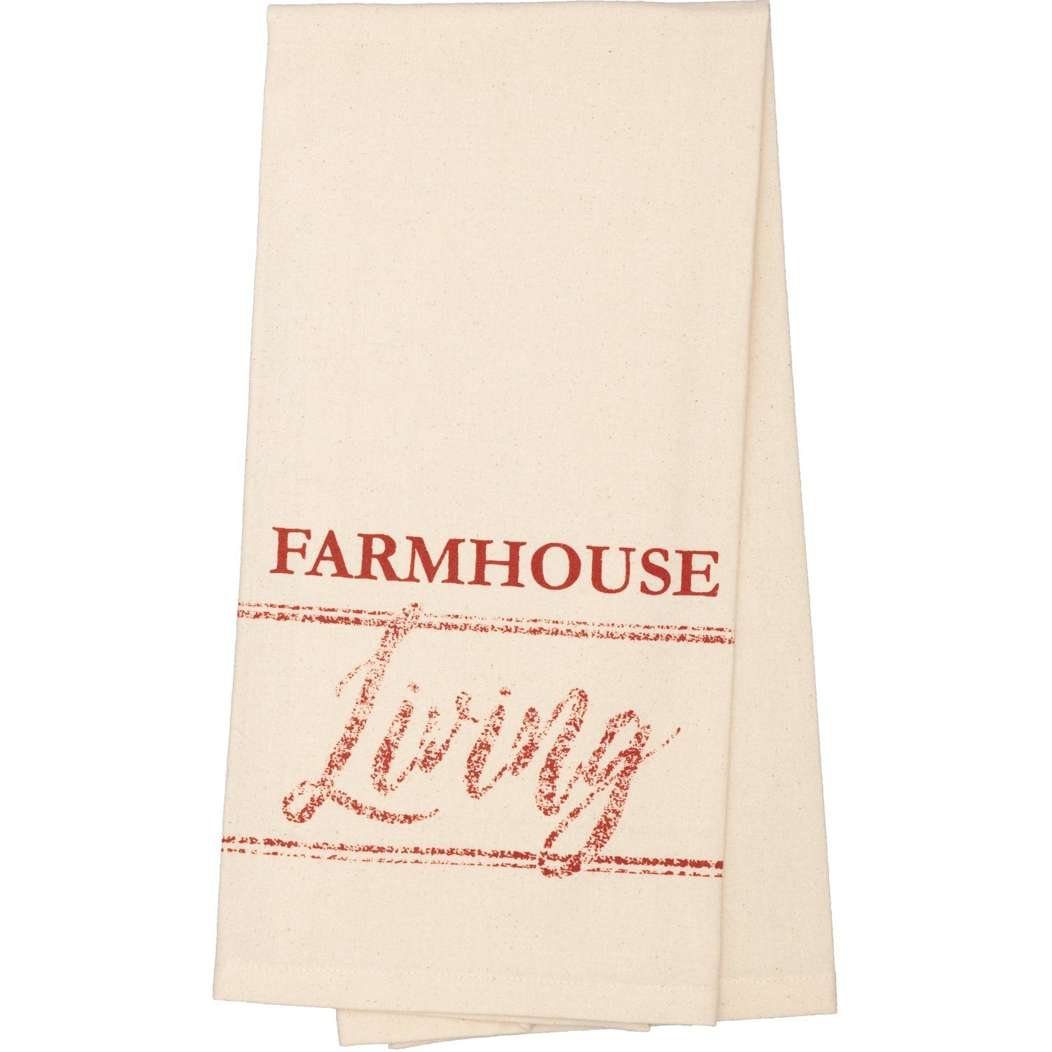 Sawyer Mill Red Farmhouse Living Muslin Unbleached Natural Tea Towel.