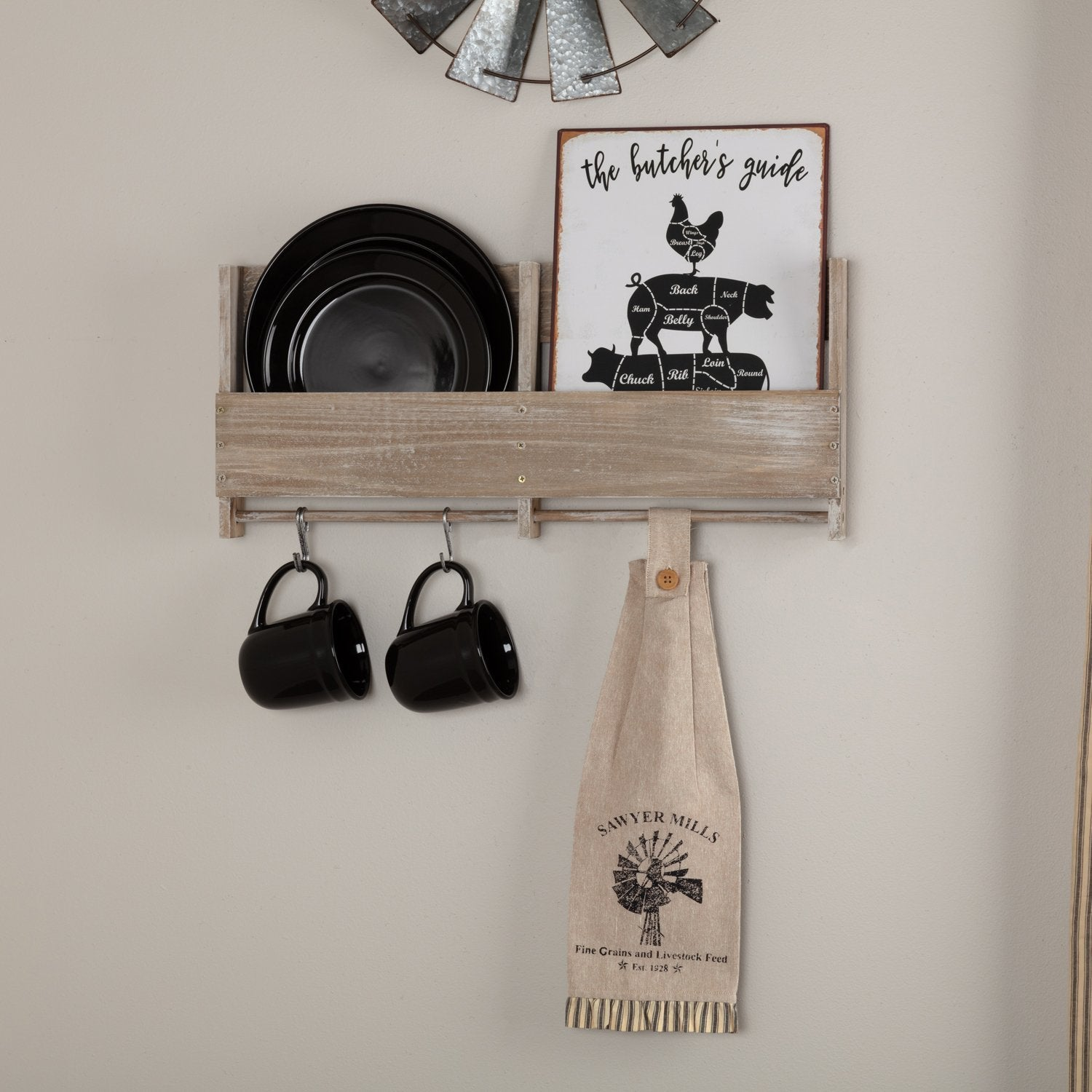Sawyer Mill Charcoal Windmill Button Loop Kitchen Towel Set of 2.