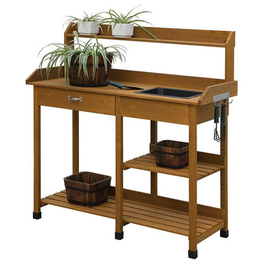 Modern Garden Potting Bench Table with Sink Storage Shelves & Drawer.