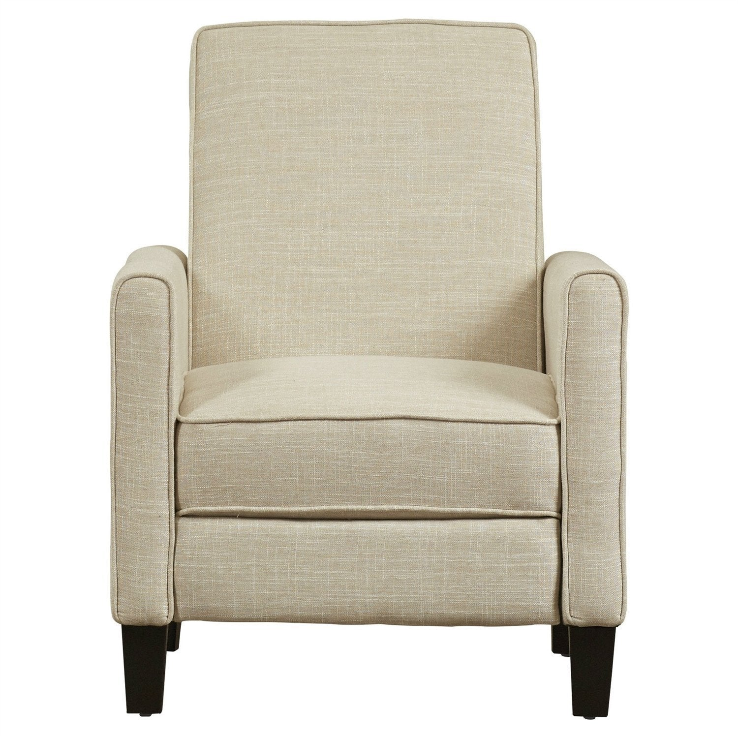 Club Chair Recliner Lounge in Light Beige Linen Upholstery.