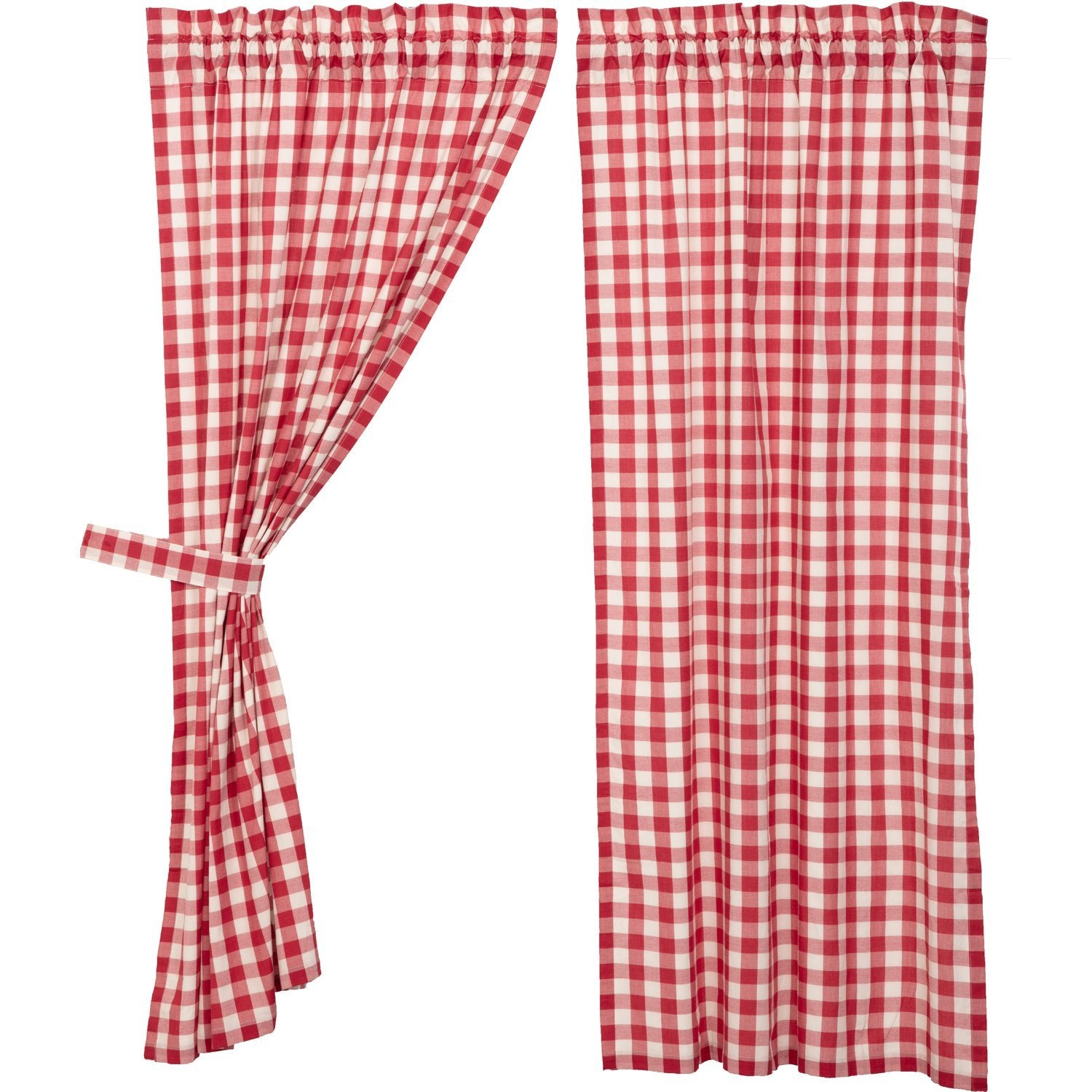 Annie Buffalo Red Check Ruffled Panel Set of 2.