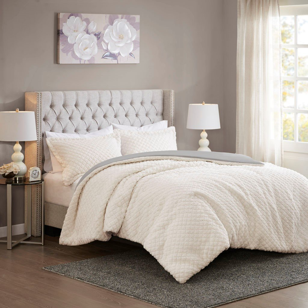Adler Reversible Textured Sherpa to Faux Mink Comforter Set
