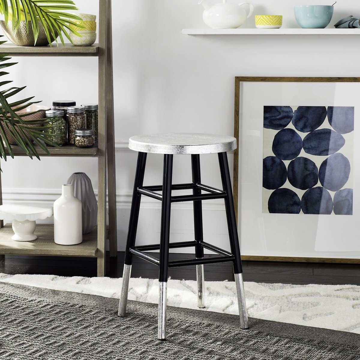 Kenzie Silver Dipped Counter Stool.
