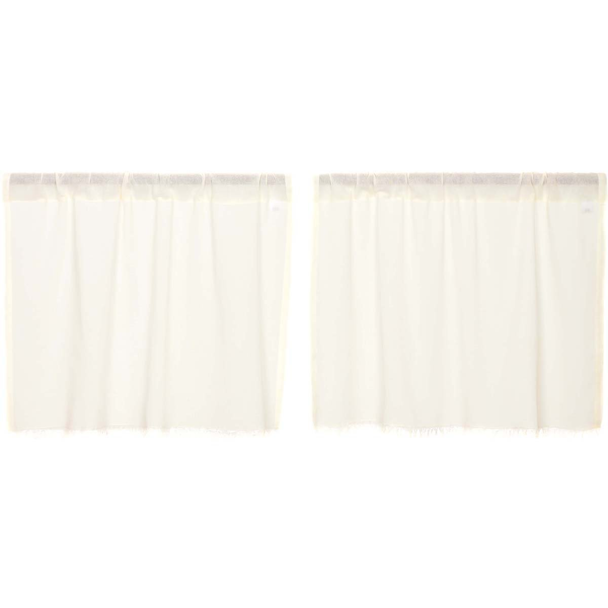 Tobacco Cloth Antique White Tier Fringed Set of 2